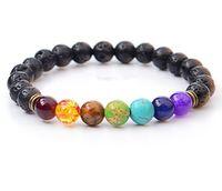 Novos Pulseiras Naturais de Pedra Lava Natural 7 Reiki Chakra Cura Balanço Beads Bracelet para Homens Mulheres Esticar Yoga Jóias
