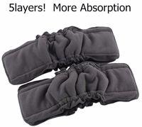 送料無料200個竹炭挿入ガセット3 + 2赤ちゃん布おむつパッドのおむつインサート