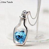 Wholesale- Long Necklace Women Crystal Necklace Sweet Love Dr...