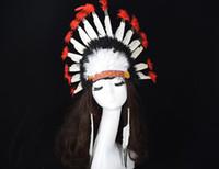 Indian Feather Hoofdtooi Crown War Bonnet Halloween Fancy Dress Kostuum Hat Party Hoofdband Cap Kleurrijke Tieners Volwassenen Gunstig