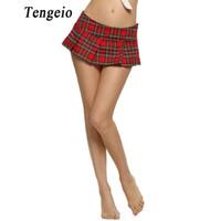 Tengeio Frauen Micro Mini Röcke 2017 Cosplay Sexy Schulmädchen Kurze Nachtwäsche Plus Größe Plaid Nachtfaltenrock Jupe Femme