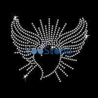 Günstige Herz und Flügel Eisen auf Strass Transfer Hot Fix Applique für Mädchen 20pcs / lot