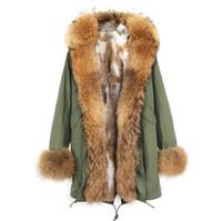 Luxuoso Lavish marrom Placket guarnição da pele JAZZVAR Marca Khaki raposa e coelho Forro de pele exército verde lona longo parka jaquetas