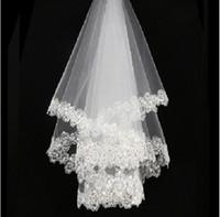 2018 New Classic Schönheit Weiß Elfenbein Spitze Pailletten 1,5 Meter Filet Brautschleier Hochzeit Zubehör