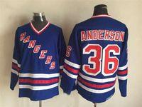 Vintage Glenn Anderson New York Rangers Hokey Formalar Erkek Royal Blue 36 Glenn Anderson Dikişli Hokey Gömlek M-XXXL