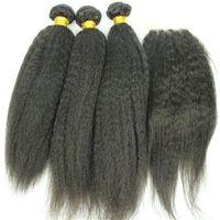 """Лучшее качество бразильских человеческих волос утка 3 пучки и топ кружева (4 """"x4"""") 1 шт. Странный прямой волнистый натуральный цвет бесплатная доставка"""