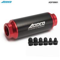 Evrensel Araba Yarışı In-Line Fuel Oil Filtresi Ile AN10 AN8 AN6 Parçaları Adaptörü SiyahKırmızı 40 Mikron ADF09901