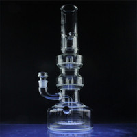 Bongs! Hi Si Glass 21.3 pulgadas Triple Geyser Perc con tapón de drenaje Bongs Water Pipes-18.8mm Junta hembra