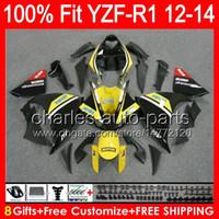 8gifts YAMAHA YZF-R1 용 12 13 14 YZF R1 12-14 노란색 96NO76 YZF 1000 YZF R 1 YZF1000 YZF1000 YZFR1 2012 2013 2014 광택 블랙 페어링