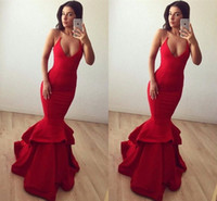 2018 Sexy Long Red V Neck Mermaid Prom Dress Halter Neck Sim...