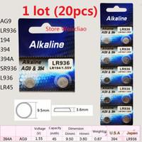20 قطع 1 وحدة AG9 LR936 194 394 394A SR936 L936 LR45 1.55 فولت بطاريات زر خلية البطارية القلوية شحن مجاني