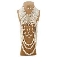 2016 nuovi colares europei e americani del commercio estero produttori che vendono moda di lusso diamante fiore collana perline festa multi texture