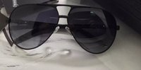 Black Leather piloto Óculos lentes cinza occhiali da sole Men Sunglasses UV Protection Novo com caixa caso