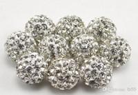 500pcs / lot de 10 mm mélangé mieux Pave CZ Disco argile boule de cristal lâche Shamballa perles Bracelet collier de perles nouveau style strass e6734