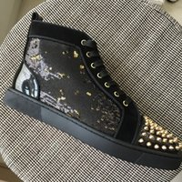 New men women gold spikes toe with black gold glitter high t...