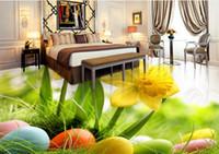 3d planchers personnalisés peintures murales fleurs oeufs colorés