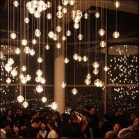 عرف g4 led كريستال زجاج الكرة قلادة مصابيح نيزك المطر أضواء السقف نيزك دش درج droplight الثريات الإضاءة ac110v-240v