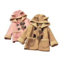 cute baby thicken coat solid lambskin hooded warm overcoat f...