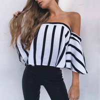 Slash Neck White Black Striped Women Casual Summer Blouse 20...