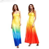 variato gradualmente colore del vestito sexy di estate spiaggia maxi vestito Club Vestiti Delire a misura di marca Realtà s-xl