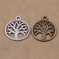 Wholesale-30pcs albero della vita dell'annata del bronzo di tono d'argento antico pendente per fatti a mano fai da te 25 millimetri * 20mm