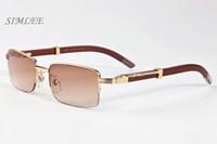 Erkekler için 2017 bambu ahşap güneş gözlüğü lüks güneş gözlüğü tam kare kare çeşitli renk lensler ve ucuz tasarımcı çerçeveleri ahşap güneş gözlükleri