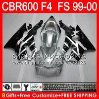 8Gifts 23Colors Carrocería para HONDA CBR 600 F4 99-00 CBR600FS FS negro Plata 30HM13 CBR600 F4 1999 2000 CBR 600F4 CBR600F4 99 00 Kit de carenado