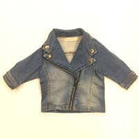 New Baby Boy Jeans Jackets Diagonal Zipper Long Sleeve Butto...