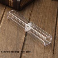 Großhandel - 10 Stück Kristall Acryl Microblading Stift Box Caneta Microblading Tebori Display und Aufbewahrungsbox Stirn manuelle Tätowierung liefert