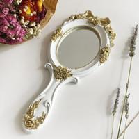 Adorável Retro Esculpida Princesa resina Espelho affaite peucine Portátil Beleza Cosméticos Espelho de Maquiagem Bonito Menina Mão Make Up