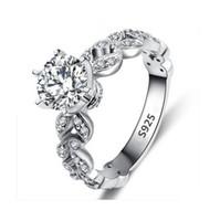 Klasik Kadınlar 925 Gümüş Takı Lüks Zirkon Elmas Yapay elmas nişan Alyanslar Kız Bayanlar Hediye için