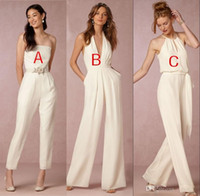 2018 Elegant jumpsuit bridesmaid dresses for wedding halter ...