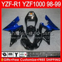 Gloss Black 8Gifts Body for Yamaha YZFR1 98 99 YZF1000 YZF-R1 98-99 90NO12 YZF 1000 YZF-1000 YZF R 1 YZF R1 1998 1999 Top Black Blue Fairing