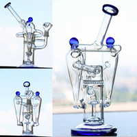 Blue Glass Bongs Double Honeycomb Perc Two Function Bongs Wa...