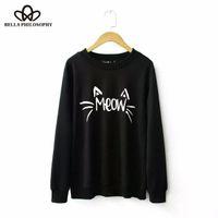 Basılı Toptan-2015 sonbahar kış beden yeni Cat kadın toptan harfler uzun kollu kadın Hoody S-XL siyah gri sweatershirt