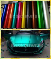 Verschiedene Farben Ice Satin Chrom matt Vinyl Für Auto-Verpackungs-Abdeckung mit Luftblase Freier Low Tack Klebstoff 3M Qualität 1.52x20m / Rolle 5x67ft