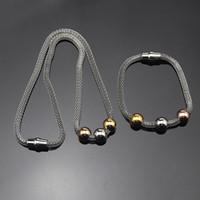 Monili di modo 3 colori borda i braccialetti della collana del pendente 316L girocolli dell'acciaio inossidabile insieme sveglio dei monili per le donne femminile