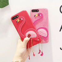 Pink Flamingos Funda para iPhone 8 7 6s 6 plus 3D PU Funda de piel para teléfono Fashion Girl Lady Cover Shell