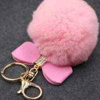 Fur Pom Pom Mode Keychain Gefälschte Kaninchenfell Ball mit PU Bowknot Schlüsselanhänger Bag Charms Bunny Keychain Schlüsselanhänger