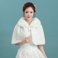 Elegante Branco Pérola Envoltório De Noiva Xale Casaco Casacos Boleros Shrugs Regular Faux Fur Roubou Capes Para Festa de Casamento Frete Grátis