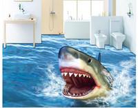 Moda 3D Home Decor Bella Horror Shark 3D Stereo pavimento senza soluzione di continuità impermeabile per parete del bagno