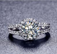 새로운 스타일 핫 판매 골드 도금 2 캐럿 8mm 소나 시뮬레이션 다이아몬드 약혼 반지 반지 여성 무료 배송