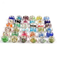 Hot Sale Silver Flower Murano Glass Beads Big Hole Chamilia ...
