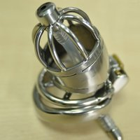 New design Stainless Steel Super Small Male Chastity Device with Catheter and anti-off Spike Ring version Short Cock Cage For BDSM