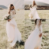 2017 Summer Bohemian Country Wedding Dresses A Line Jewel Ne...