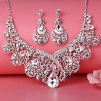 Schönheits-Silber-Blumen-Perlen-Brauthalsketten-Tiara-Ohrring kleidet 3 Stücke Schmuck-Anzüge, die Brautschmucksachen P419004 Wedding sind