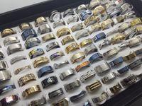 Atacado 50 pcs lotes Moda Mix Design de aço Inoxidável anéis de Jóias Para Mulheres Dos Homens Anel de Presente anel de Casamento