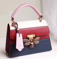 Famous Brand Genuine Leather Two- tone Queen Handbag, Luxury ...