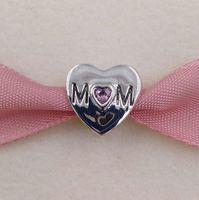 Mothers Day 925 Sterling Silver Perline Madre Cuore Fascino Adatto Bracciali europei Bracciali Bracciali in stile Pandora 791881PCZ Regalo Mom