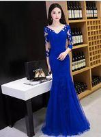 Seksi Dantel Aplike V Yaka Şair 3/4 Uzun Kollu Gelinlik Modelleri Kadınlar Için Sweep Tren Elbise Özel Durum Parti Abiye giyim